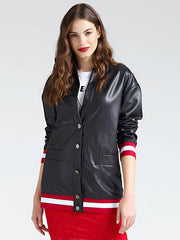 Guess Ermin Long Coated-Look Bomber Jacket - Jet Black