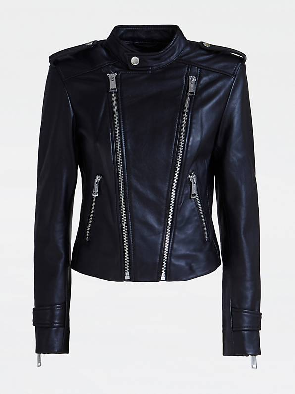 Guess Genuine Leather Honey Biker Jacket - Jet Black