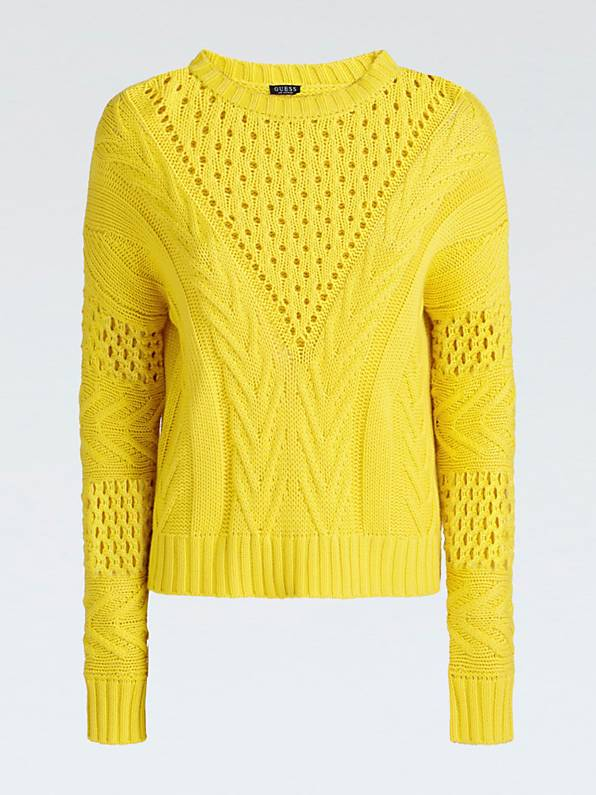 Guess Long Sleeve Round Neck Nicole Sweater - Yellow