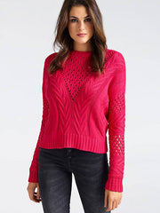 Guess Long Sleeve Round Neck Nicole Sweater - Fuchsia
