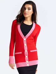 Guess Contrasting Cardigan  - Tomato Juice