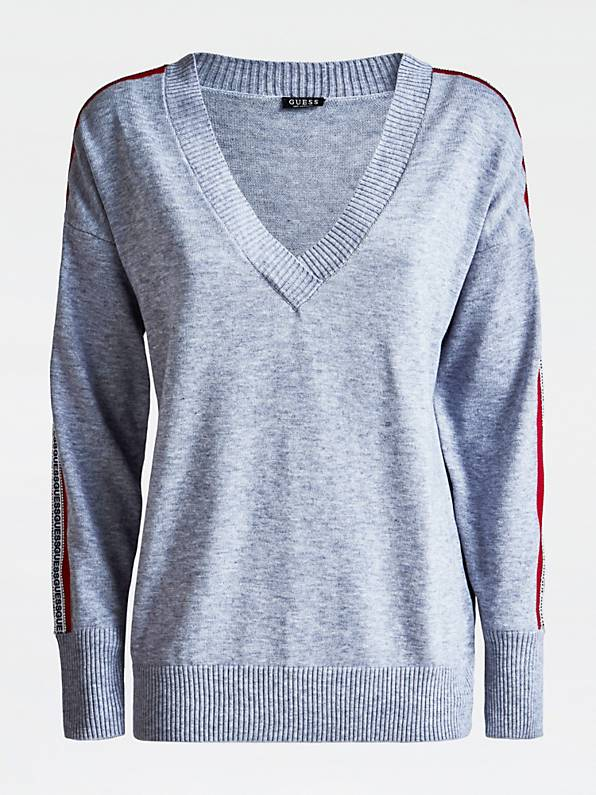 Guess Long Sleeve V Neck Julie Sweater - Stone Heather Grey