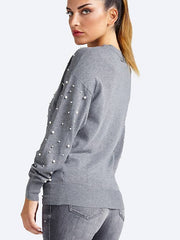 Guess Lena Pearl & Jewel Detail Sweater - Charcoal