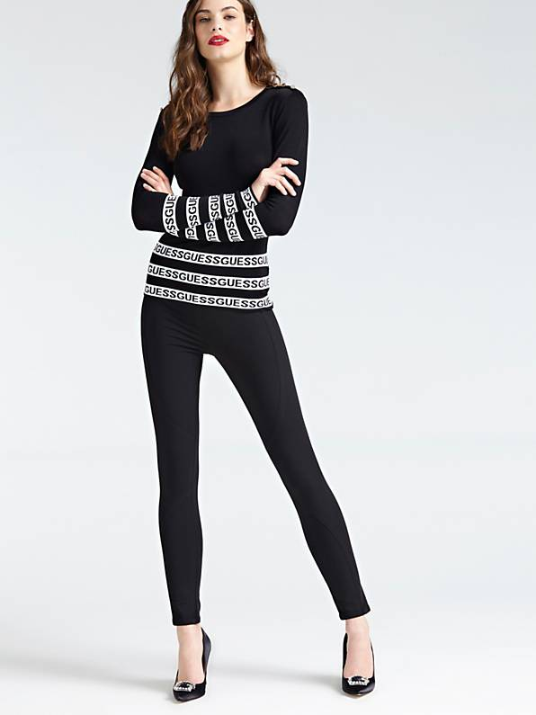 Guess Long Sleeve Round Neck Guenda Sweater - Jet Black