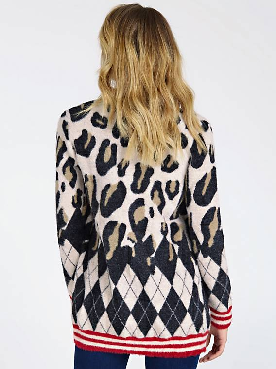 Guess Long Sleeve Swami Cardigan - Leopard