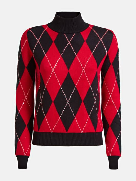 Guess Gaia Sweater - Argyle Black/Red