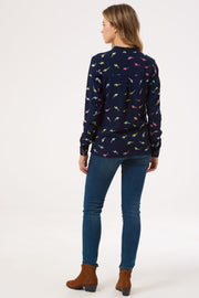 Tiana Lightning Batik Blouse - Navy/Multi