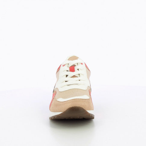 Beige and Raspberry Sneakers