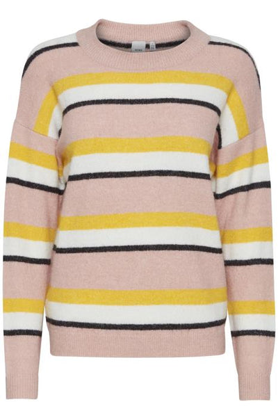Dusty Striped Sweater - Silver Pink