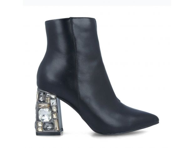 Capestrano Jewelled Heel Boot - Black