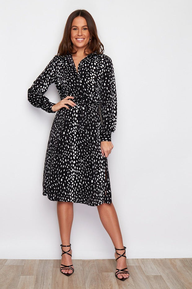 Clark Tie Front Shirt Midi Dress Spotted - Black