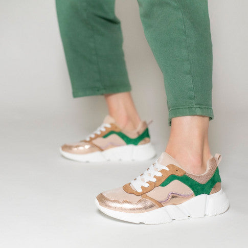 Dusty Pink Sneakers With Green Detailing