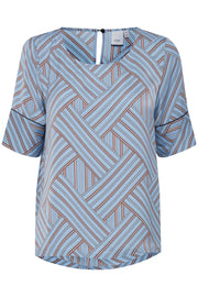 Geotrix Short Sleeve Shirt - Faded Denim