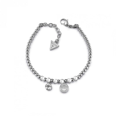 Guess Uptown Chic White Pearl Bracelet - Silver