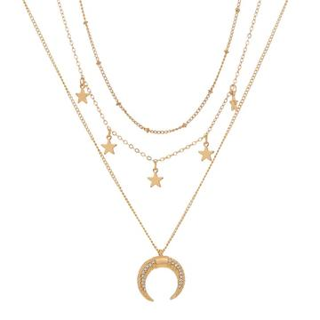 Crescent Triple Layer Necklace