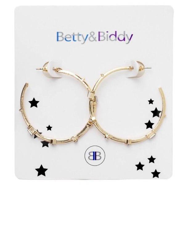 Clear Stud Hoop Earrings