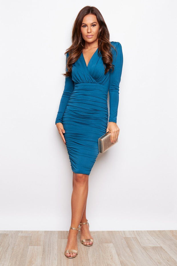 India Long Sleeve Ruched Midi Dress - Teal