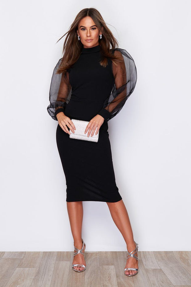 Juliet Puff Organza Sleeve Midi Dress - Black