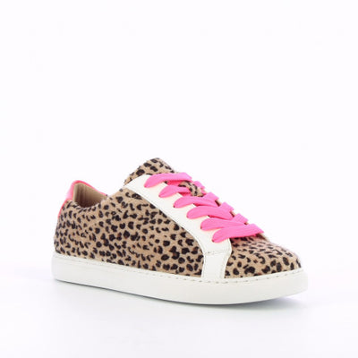 Leopard Print Sneakers with Pink Laces