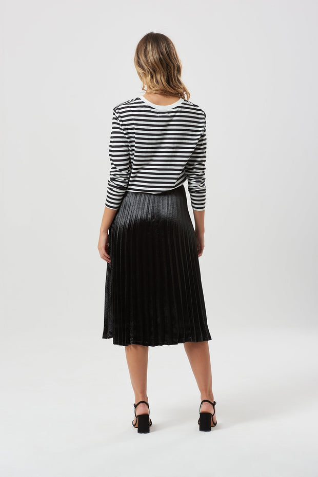 Lynette Metallic Pleated Skirt - Black