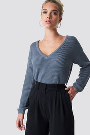 Knitted Deep V Back Sweater - Light Blue