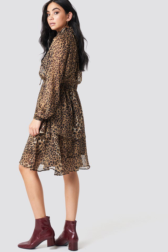 High Neck Frill Layer Dress - Leopard