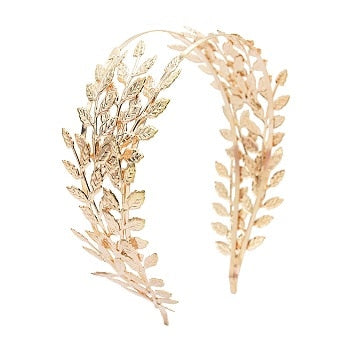 Roman Goddess Hairband Headband Crowns Gold Leaf Dainty Wedding Hair Accessories Women Tiaras Bridal Forehead Alice Band Jewelry