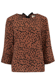Emmie Animal Spot Top - Tan Brown