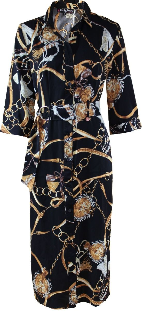 Lucille Shirt Dress - Black & Gold