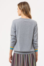 Velma Spell It Out Rainbow Sweater - Grey Marl