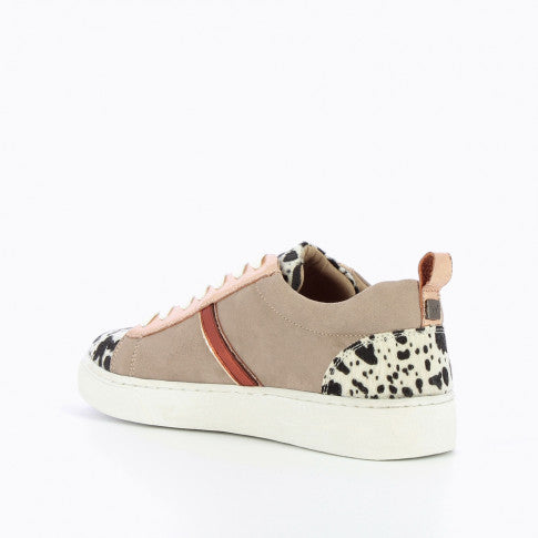 Taupe Sneaker with Cow Print Detailing