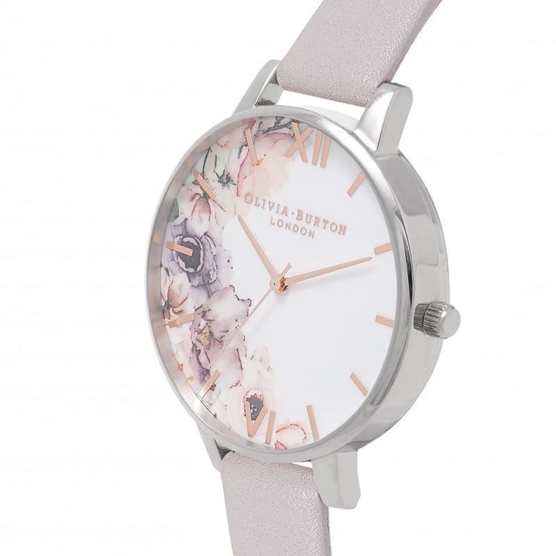 Watercolour Florals Grey Lilac & Silver Watch - PP32