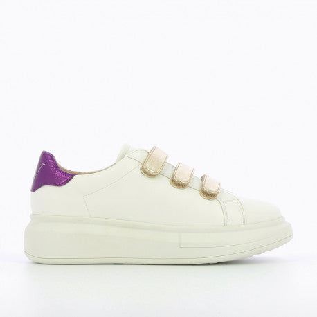 White Sneakers with Gold Detail Velcro Straps