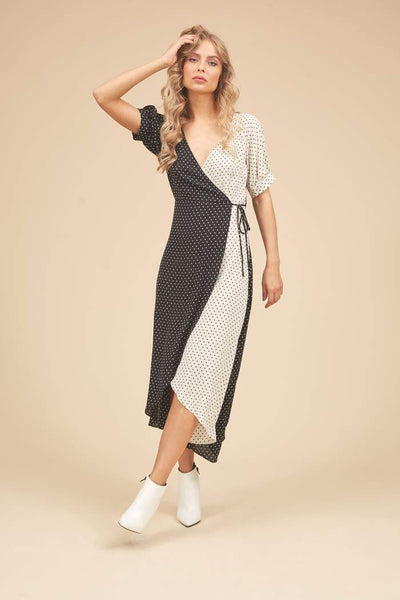 Written In The Stars Wrap Dress - Black& White