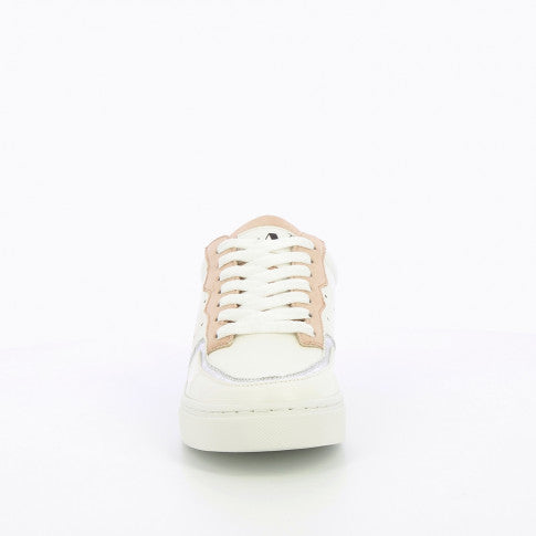 White Sneakers with Beige Detailing