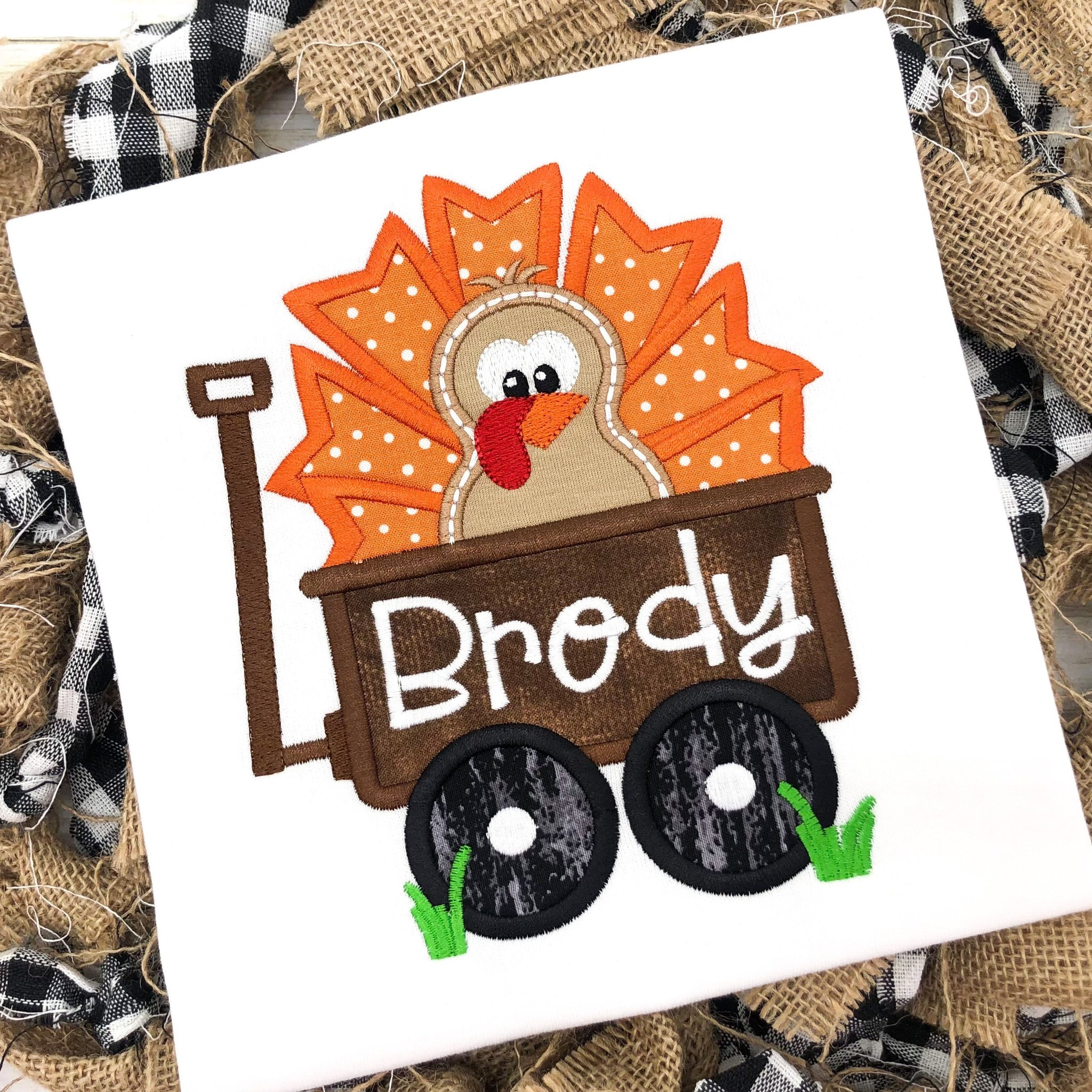Turkey & Wagon Personalized Thanksgiving Shirt/Bodysuit