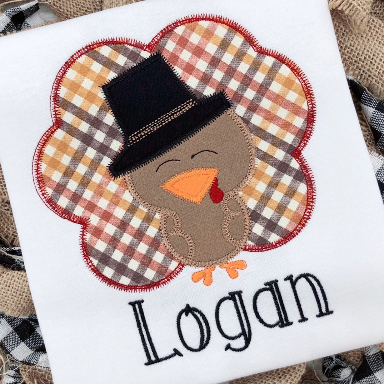 Turkey with Hat Personalized Thanksgiving Shirt/Bodysuit