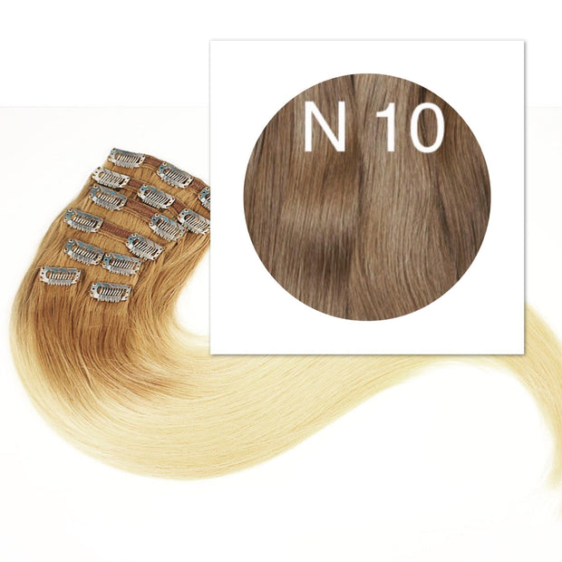 Clips 7 part Colors LIGHT BROWN_Retail price - GVA hair