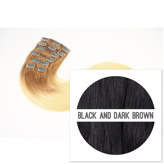 Clips 7 part Colors BLACK AND DARK BROWN - GVA hair