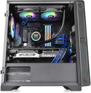 Thermaltake CA-1Q9-00S1WN-00 S100 Tempered Glass Black Edition Micro-ATX Mini-Tower Computer Case with 120mm Rear Fan