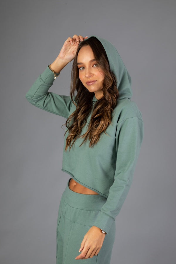 Cropped Hoodie - Verde Cemento