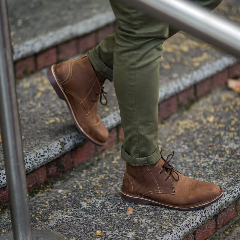 Chukka Boot - Pelle pieno fiore (BROWN SOLE)