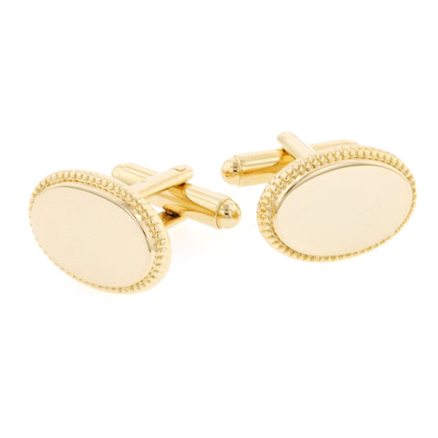 Oval Beaded Edge Cufflinks