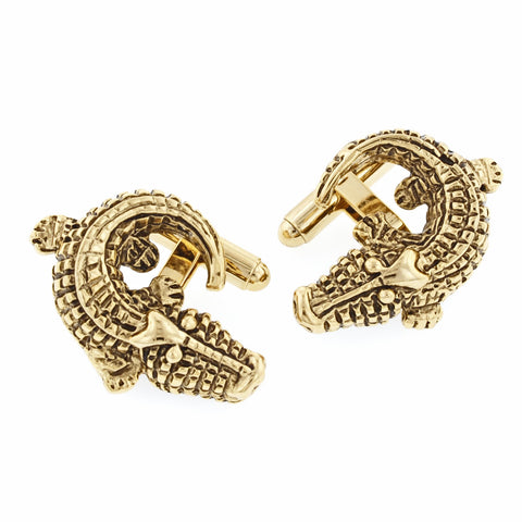 Antiqued Alligator Cufflinks