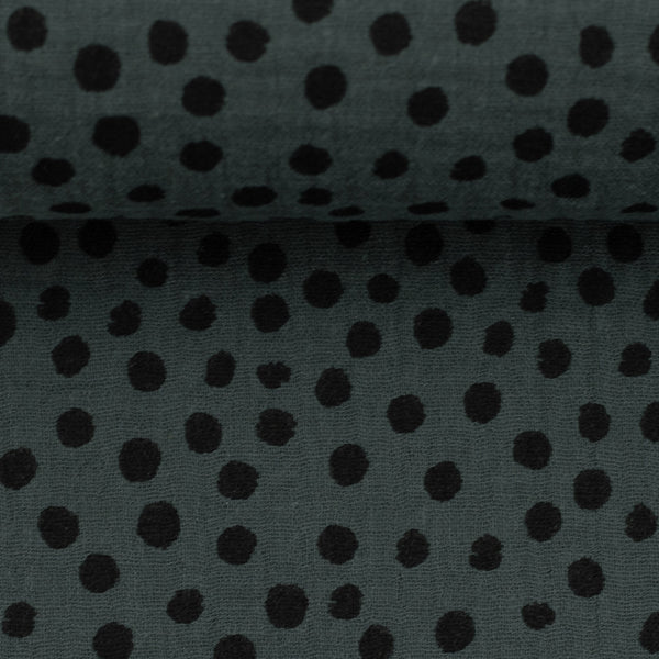 Muslin double gauze dots / black and dark grey