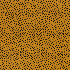 Muslin double gauze dots / black and mustard