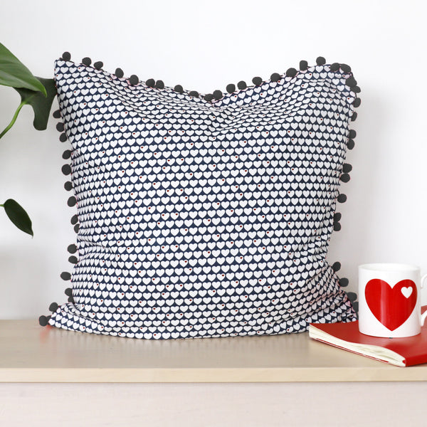 Little hearts cushion bundle / blue and white / grey trim