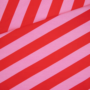 Diagonal Stripes French Terry / pink red