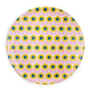 Retro flower tray / pink yellow
