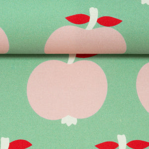Canvas apples mint pink / 90cm
